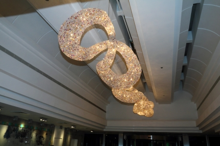 Modern crystal chandelier in the new hotel