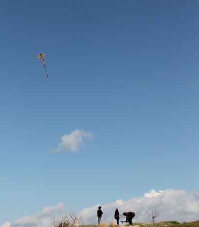 Father and children  playing with kite photo