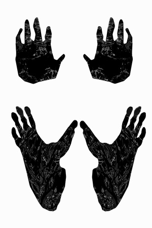 foots: Gorilla paw print with prints of gorilla foots and hands Stock Photo