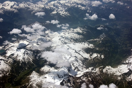Switzerland and Austria  as seen from an airplane window photo