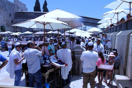 Celebrations during a Bar Mitzvah ceremony at the Wailing Wall an important jewish religious site  in Jerusalem, Israel