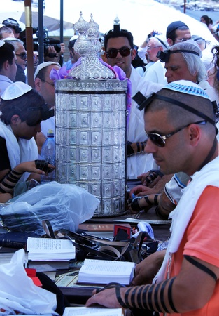 hassidic:   Celebrations during a Bar Mitzvah ceremony at the Wailing Wall an important jewish religious site  in Jerusalem, Israel