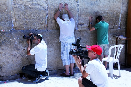 bar mitzvah:  Photo on the memory of the celebration of the Bar Mitzvah at the Western Wall