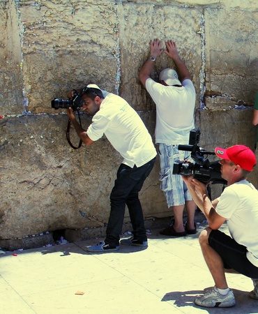 Photo on the memory of the celebration of the Bar Mitzvah at the Western Wall