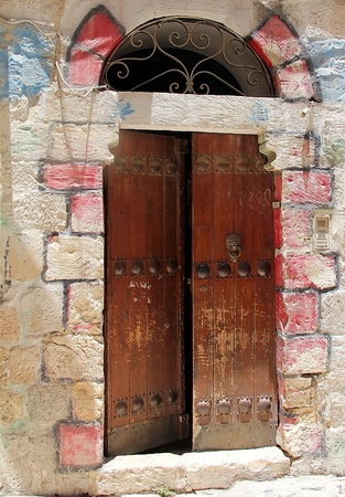 Vintage Wooden Door in the old part of Jerusalem photo