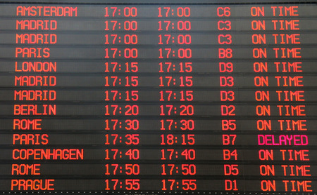 departure board: Flights departure information timetable in airport terminal Stock Photo
