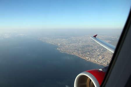 Tel Aviv with a bird eye view from airplane window photo