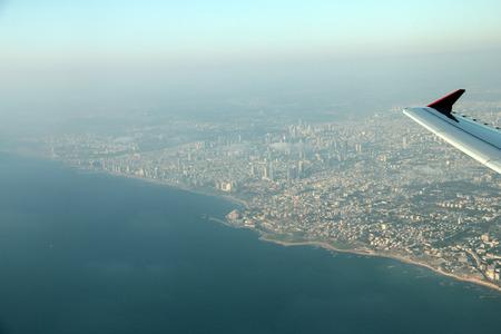 bird of israel: Tel Aviv with a bird eye view from airplane window