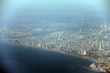 bird 's eye view: Tel Aviv with a bird eye view from airplane window