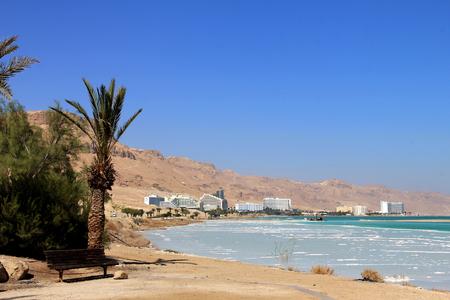 sediments:  World-renowned health resort complex on the Dead sea,  which includes many hotels, beaches, spa baths, mud baths, solariums, etc  Ein Bokek, Israel  Stock Photo