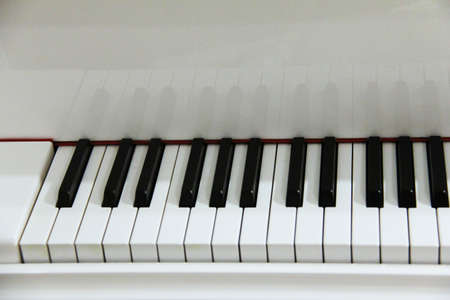 Piano keys  on  white grand piano  Selective focus photo