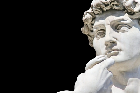 Detail close-up of Michelangelo s David statue on black background, with place for your design or text Stock Photo