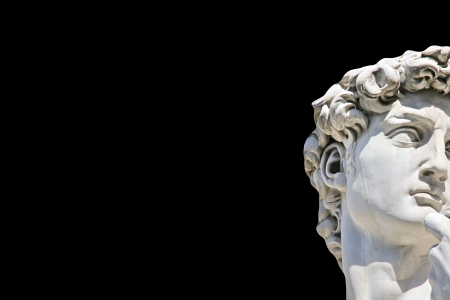 nudist: Detail close-up of Michelangelo s David statue on black background, with place for your design or text Stock Photo