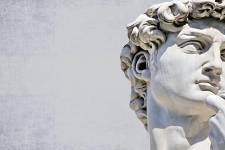 디자인 또는 텍스트에 대 한 장소 미켈란젤로의 다비드 동상의 세부 근접 스톡 콘텐츠
