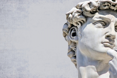 likeness: Detail close-up of Michelangelo s David statue, with place for your design or text