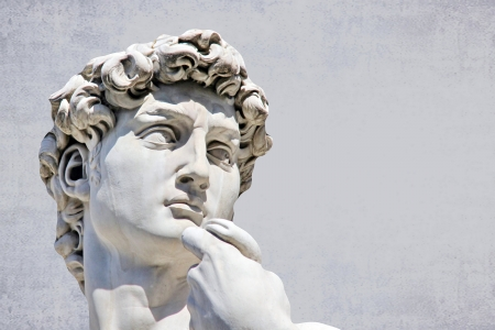 nudist: Detail close-up of Michelangelo s David statue, with place for your design or text