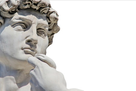 Detail close-up of Michelangelo s David statue isolated on white background, with place for your design or text