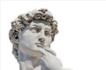 상세 확대 미켈란젤로의 데이비드 동상은 디자인 또는 텍스트에 대 한 장소, 흰색 배경에 고립 스톡 콘텐츠