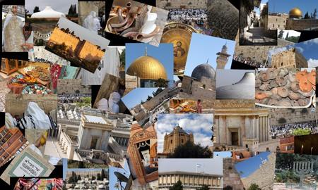 Go Jerusalem - background with travel photos of Jerusalem landmarks  I used my own photos for this collage photo