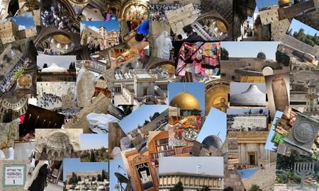 Go Jerusalem - background with travel photos of Jerusalem landmarks   photo