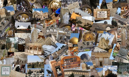Go Jerusalem - background with travel photos of Jerusalem landmarks  I used my own photos for this collage photo