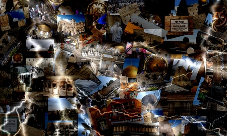 Go Jerusalem - background with travel photos of Jerusalem landmarks   photo