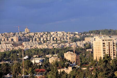 Contemporary Western Jerusalem at winter Redakční