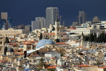 mount of olives: Jerusalem landscape from Mount Olives at the winter day
