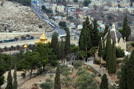 mount of olives:  Landscape from Mount Olives at the winter day   Jerusalem, Israel