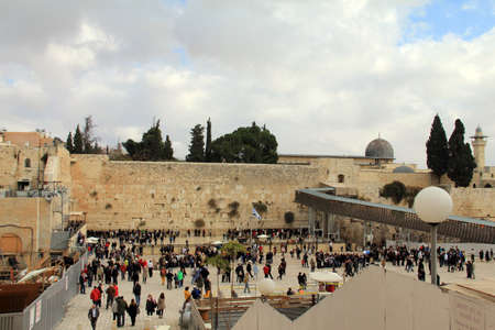 hassidic:  Jewish worshipers pray at the Wailing Wall an important jewish religious site , Jerusalem  Israel