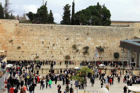 Jewish worshipers pray at the Wailing Wall an important jewish religious site , Jerusalem  Israel