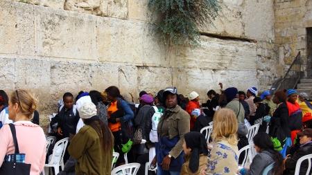 Jewish women  worshipers pray at the Wailing Wall an important jewish religious site at winter  Jerusalem Editorial