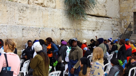 hassidic:  Jewish women  worshipers pray at the Wailing Wall an important jewish religious site at winter  Jerusalem Editorial