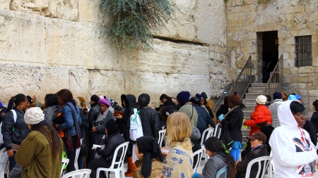 hassidic: Jewish women  worshipers pray at the Wailing Wall an important jewish religious site at winter  Jerusalem