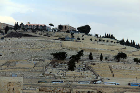 Ancient Jewish Cemetery at the Mount of Olives in Jerusalem, Israel
