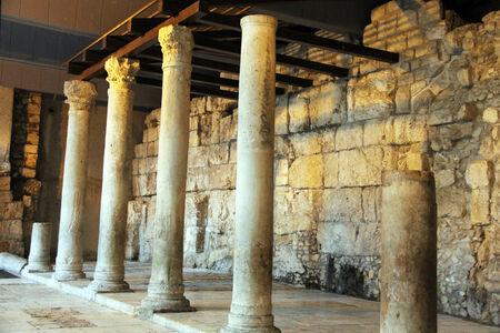 Columns in the Jewish Quarter of Jerusalem  Roman Cardo street  Editorial