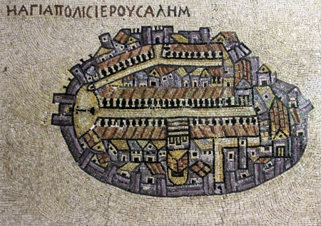 Kopieren von Fragment der ältesten Bodenmosaikkarte des Heiligen Landes - die Heilige Stadt Jerusalem in Jordanien Original-Cardo Straße Jerusalem Standard-Bild - 24707730