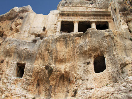 accessed: Tomb of Benei Hezir  Hazir  - oldest of four monumental rock-cut tombs that stand in the Kidron Valley, Jerusalem and date to the period of the Second Temple  It is a complex of burial caves  Jerusalem Stock Photo