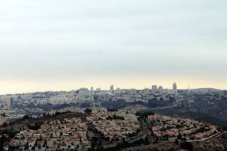 samuel: View of Jerusalem from Mount of Prophet Samuel at the evening dark time