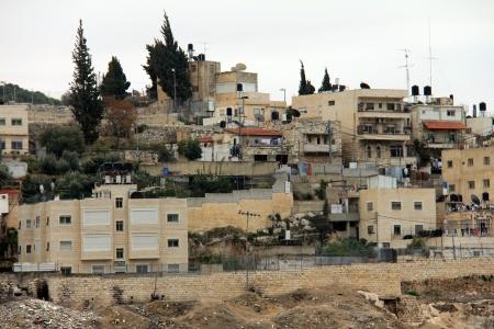 kefar: Silwan village over the ancient Jewish buildings and graves  Jerusalem Stock Photo