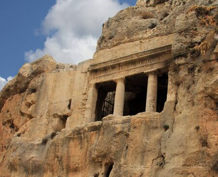 stair well: Tomb of Benei Hezir  Hazir  - oldest of four monumental rock-cut tombs that stand in the Kidron Valley, Jerusalem and date to the period of the Second Temple  It is a complex of burial caves  Jerusalem Editorial