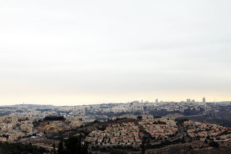 samuel: View of Jerusalem from Mount of Prophet Samuel at the evening dark time  Jerusalem  Israel