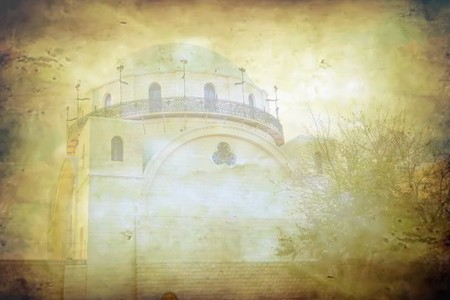 hurva: Hurva synagogue in grunge at sunset time   Historical synagogue of the Hurva is located in the Jewish Quarter of the Old City of Jerusalem  The earliest tradition regarding the site is of a synagogue existing there at the time of the 2nd century  The syna