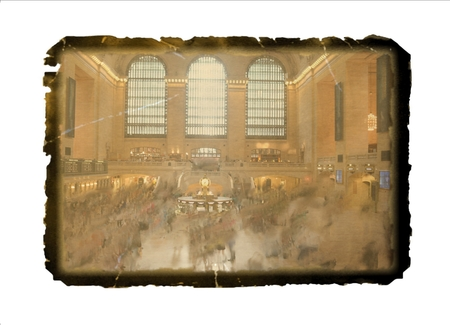Vintage photo of the main hall at Grand central terminal train station New York city