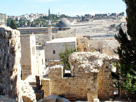 A view of the Temple Mount in Jerusalem, including   Al-Aqsa Mosque  photo