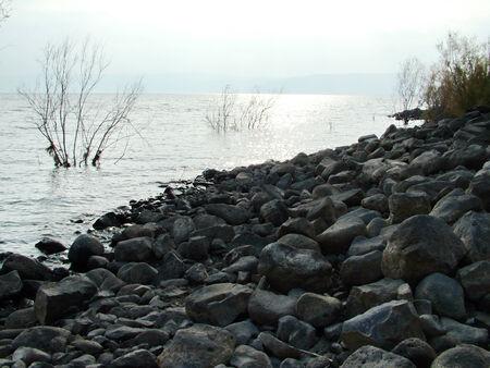 Sea of Galilee near Capernaum Stock Photo