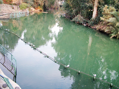 Place for baptism in the Jordan River  The river Jordan in northern Israel just after the Sea of Galilee  Israel photo
