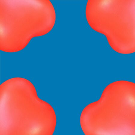 Red hearts like balloons on blue  photo