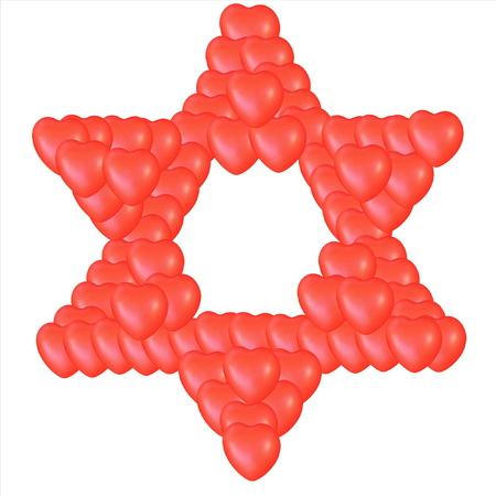 comprised: Giudaismo simbolo religioso - Stella di David costituito da piccoli cuori rossi isolato su bianco.