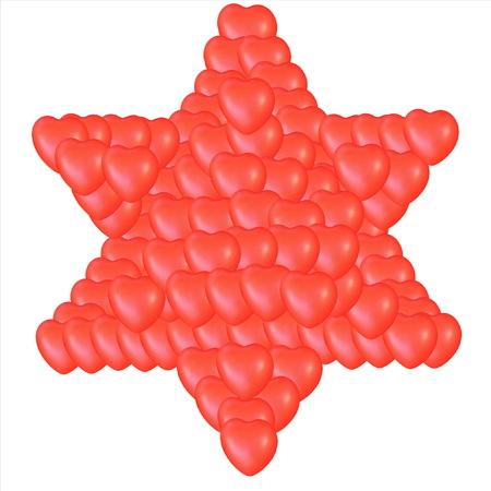 comprised: Giudaismo simbolo religioso - Stella di David composta da piccoli cuori rossi isolato su bianco. Archivio Fotografico